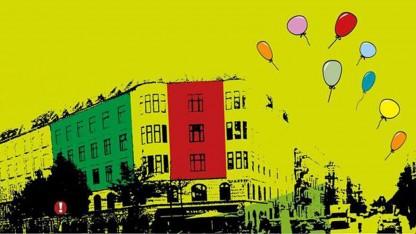 Bag facaden på Vesterbro i København – bl.a. i Café Exit